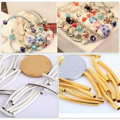 100pcs Perles Tubes Courbes Cuivre Pièces Lisses Argenté/Doré/Nickel Bijoux