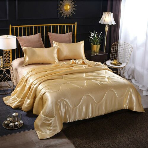 Lovely Black Silver Gold Silky Satin 3 pcs Queen Twin 2 pcs Comforter Set