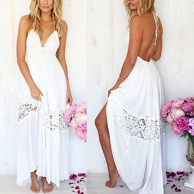 Ladies Womens Dress Chiffon White Backless Bodycon Party Cocktail Long Dresses