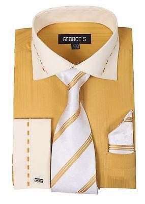 Men's Jacquard Stripe Dress Shirt w/ Matching Tie & Hanky Set #621 Gold
