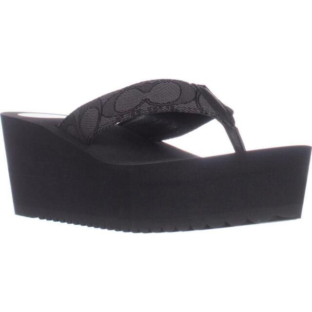 409c2c3ae0c NEW Coach Jen Outline Signature Smoke Black Wedge Thong Sandal Flip Flop 10