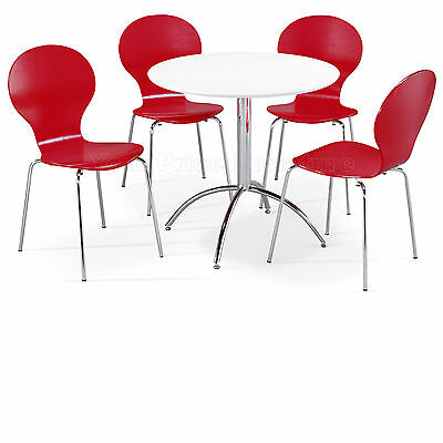 Dining Set Round White Table and 4 Red Chairs Chrome Keeler Kitchen Cafe Bistro
