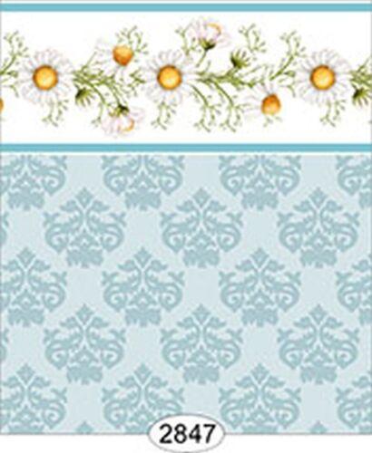 Daisy Blue Border Dollhouse 1:12 Scale Wallpaper Damask