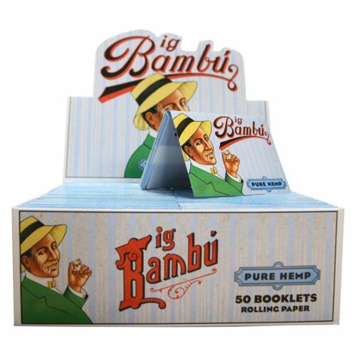 Natural Glue Finest Rolling Papers BIG BAMBU PURE HEMP Blue 1 1//2 Size 5 Packs