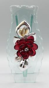 Vintage-Clear-Glass-Silver-Tone-Metal-Calla-Lily-Flower-Rhinestone-Bud-Vase