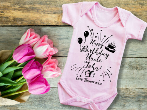 Custom Happy Birthday Uncle pink baby grow bodysuit vest with your message