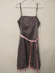 New-Women-s-City-Triangles-Semi-Formal-Dress-Black-White-Pink-Polka-Dot-Size-13