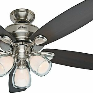 Hunter 52 Brushed Nickel Ceiling Fan w Light Kit Flush Std or Angled Mount