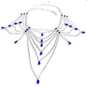 Austrian-Crystal-Choker-Necklace-Blue-Rhinestone-Bib-Large-Pageant-Prom-Bridal