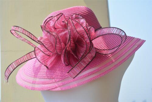 A115 femme robe église mariage Kentucky Derby Large Bord Paille été Plage Chapeau