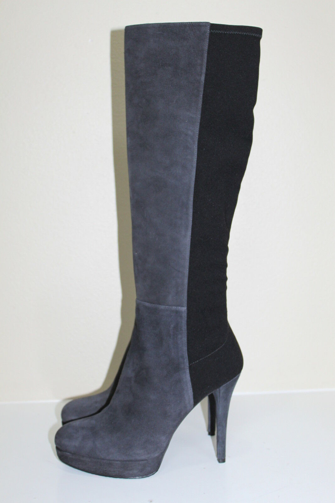 Stuart Weitzman Skyline Platform Grey & Black Suede Boot Heel shoes sz  9.5 M