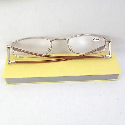 Slimline Foldable Reading Glasses +3.00 Rectangle Shape & Yellow Flat Suede Case