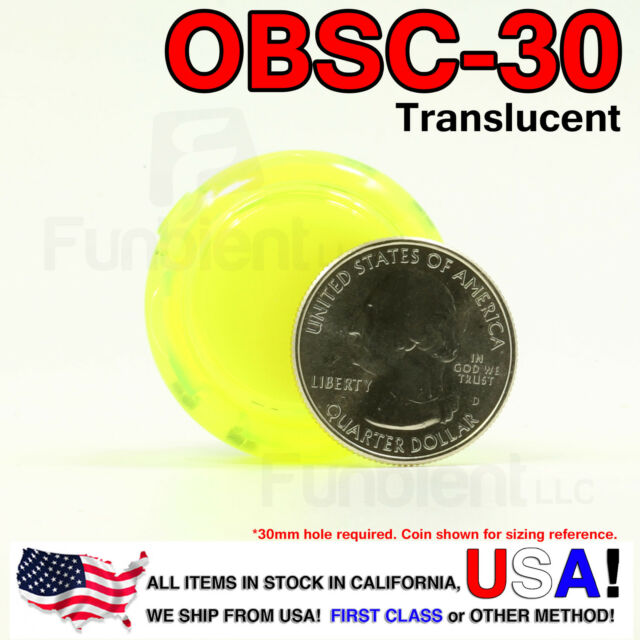 Sanwa Original OBSC-24 Black Translucent Push Button JAMMA guitar kill switch