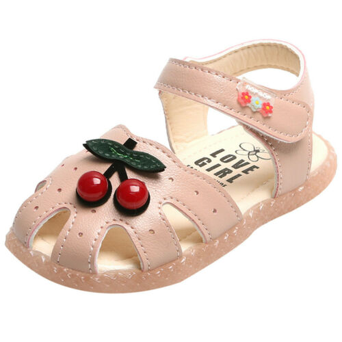 Toddler Kids Baby Little Girls Cherry Princess Closed Toe Shoes Beach Sandals