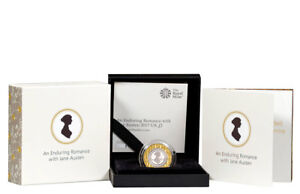 2017 Britain Enduring Romance Jane Austen Piedfort Silver Gilt Proof £2 SKU48885