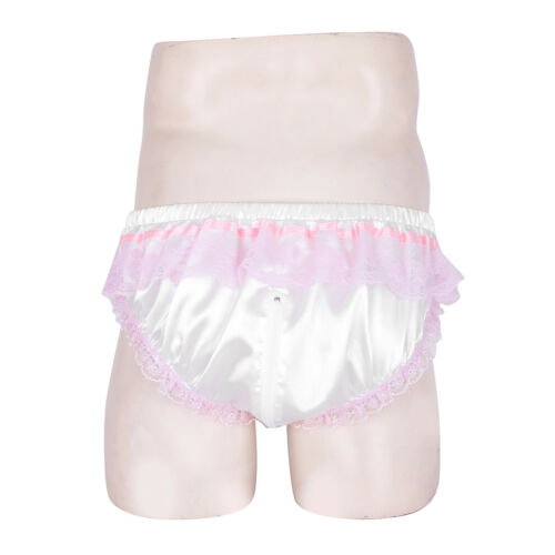 Mens Shiny Briefs Sissy Satin Pouch Panties Bikini Zipper Crotch Underwear Panty