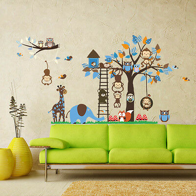 Baby nursery room cute owl zoo MONKEY TREE DIY removable Wall Decals sticker