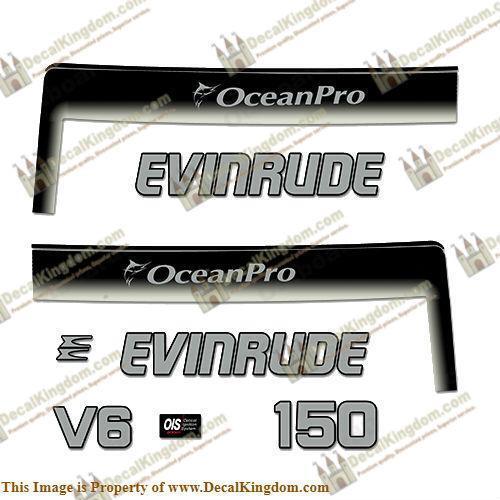 Custom Silver//Black 3M Marine Grade Evinrude 150hp Ocean Pro Outboard Decals