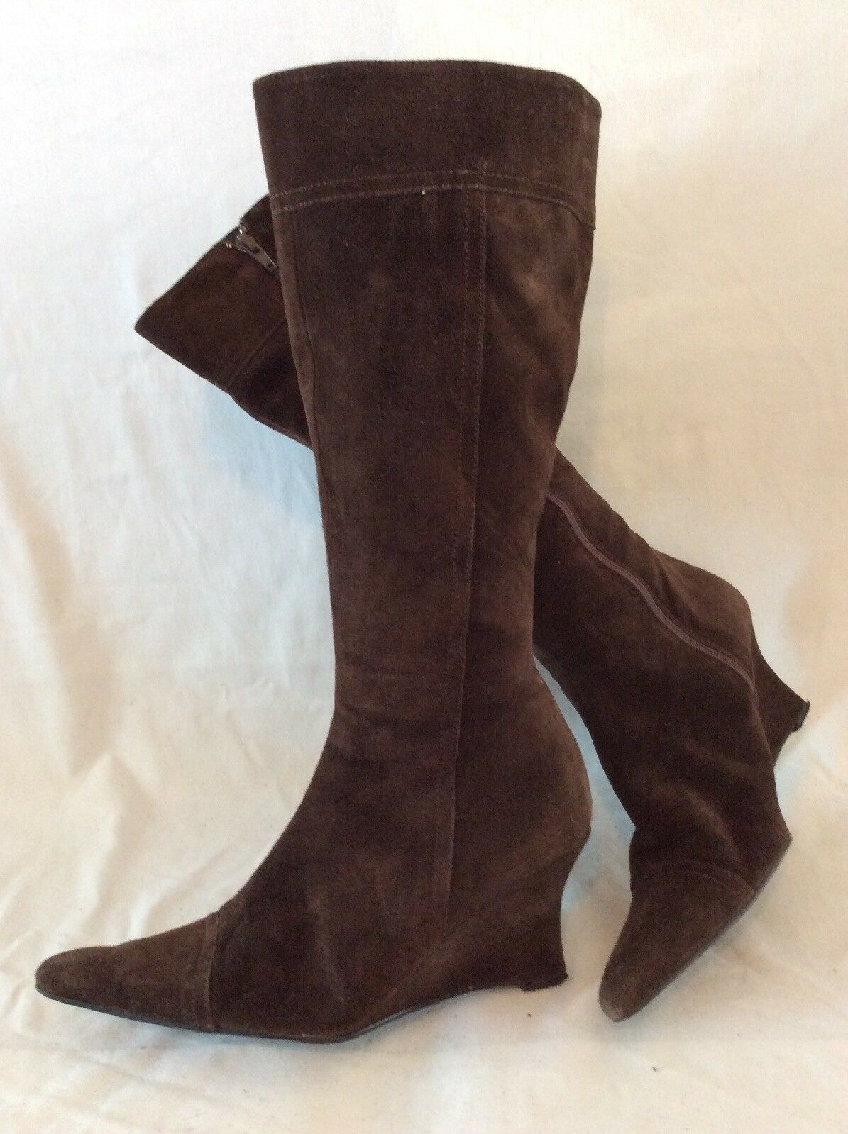 Russell&Bromley Dark Brown Knee High Suede Boots Size 40
