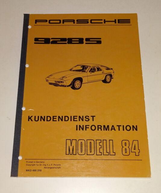 Workshop Manual  Customer Service Information Porsche 928 S