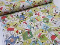 Snoopy Photo Colorful Vintage Sheeting Peanuts Fabric From Japan