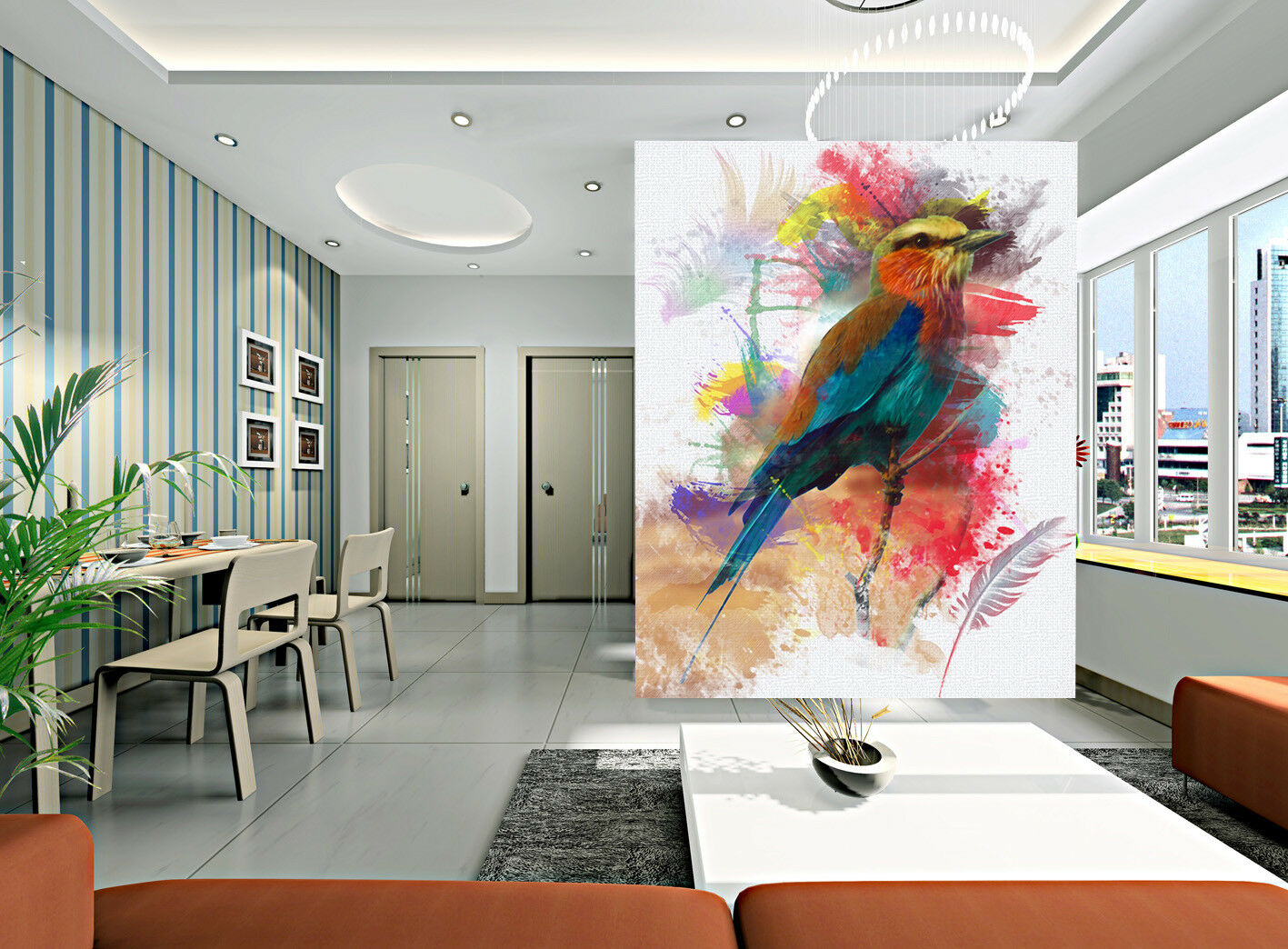 3D Watercolor Bird 7 Wall Paper Murals Wall Print Wall Wallpaper Mural AU Summer