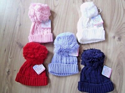 baby knitted pom pom hats Blue Pink  12//24 M