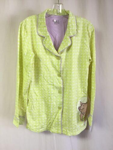NWT Women/'s Hue Sleepwear Pajama Top Shirt Size Large Celery w// Pig #1252P