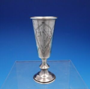 "Russian .875 Silver Cordial Cup Engraved with Diamond Shapes 3 1/8"" Tall (#4333)"