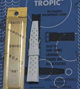 Rare-19mm-white-watch-sport-band-Genuine-Tropic-divers-strap-Swiss-straight-ends