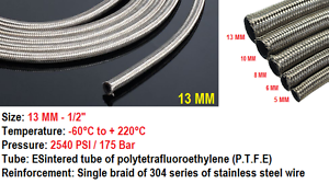 STAINLESS STEEL BRAIDED FUEL LINE Petrol HOSE NITRILE RUBBER FLEXIBLE PIPE