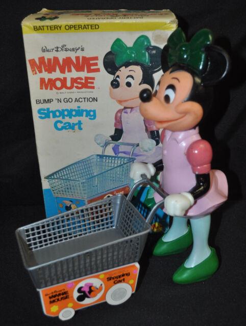 Minnie Mouse Bump N Go Action Shopping Cart Walt Disney - illco (1970s) ITB WH