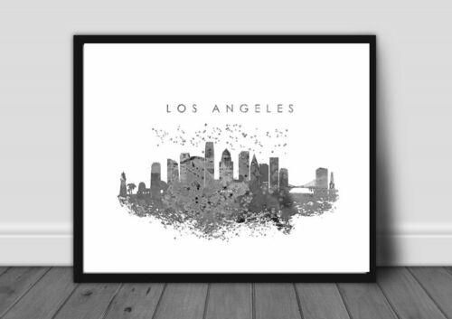 LOS ANGELES CITY LANDSCAPE PRINT PICTURE WALL ART A4 MONOCHROME unframed 22