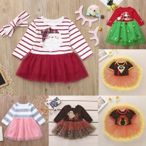 7a3a61e4ee Infant Baby Kid Girl Long Sleeve Santa Christmas XMAS Tutu Tulle ...