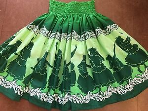 "NEW GREEN OMBRE HAWAIIAN PAU PA'U HULA SKIRT 28"" LONG MADE IN HAWAII"