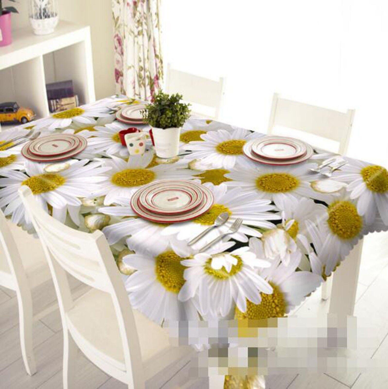 3D blanc Daisy 022 Tablecloth Table Cover Cloth Birthday Party Event AJ Lemon