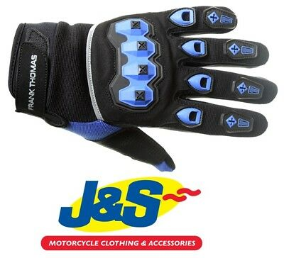 Frank Thomas FT88 Ridding Textile Motorcycle Short Riding Glove Black Blue J/&S