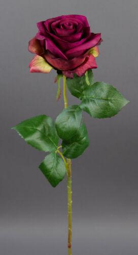 Rose 54cm dunkel-fuchsia CG Kunstblumen künstliche Blumen Rosenzweig