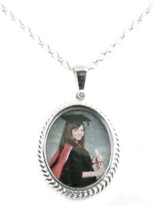 HANDMADE-STERLING-SILVER-PERSONALISED-PHOTO-PENDANT-amp-CHAIN-PH105-ROPED-EDGED