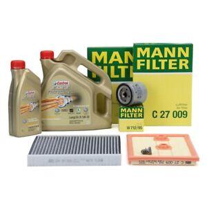mann inspektionskit 5l castrol 5w30 motor l audi a3 q2 vw golf 7 1 2 1 4 tsi ebay. Black Bedroom Furniture Sets. Home Design Ideas