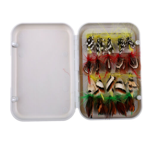 20pcs Assortment Trout Dry Fly Fishing Flies with Waterproof Fly Fishing Box