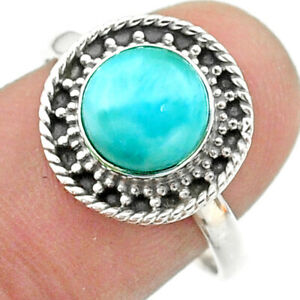 925 Silver 3.29cts Solitaire Natural Blue Larimar Round Shape Ring Size 8 T41325