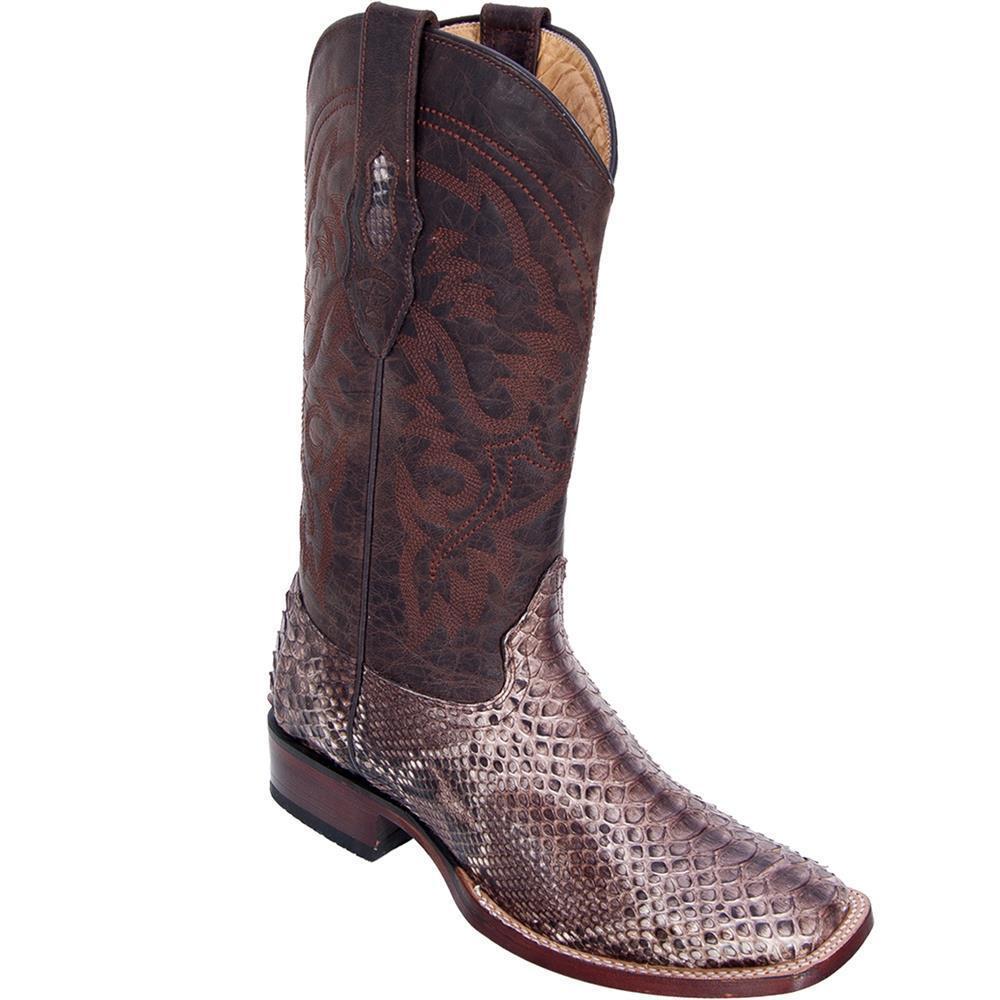 Los Altos RUSTIC BROWN Genuine PYTHON SNAKE Western Cowboy Boot Square Toe EE