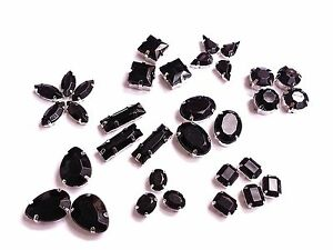 BLACK Acrylic Sew on Faceted Crystal Rhinestones Diamantes Dress Making Montees