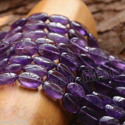 "Pretty Genuine 13x18mm Natural Purple Amethyst Oval Loose Beads Gemstones 15""AAA"