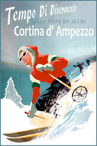 Ski Cortina D Ampezzo Vintage Travel Art Print Poster 24x36 inch