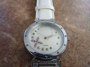 Nice-Lady-039-s-Quartz-Watch-with-White-Strap-amp-Jewels