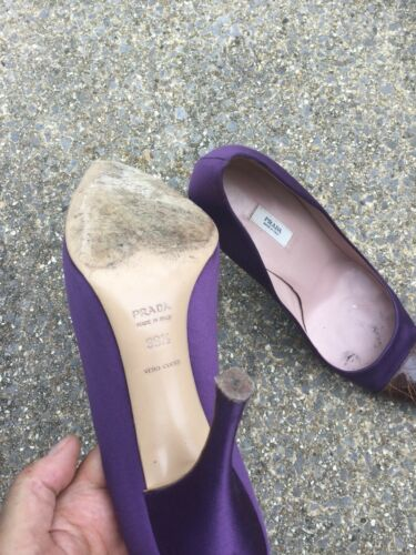 Vintage Sexy Leather 5 Tan 39 Purple Courts Prada Prince Designer Heels HAf66
