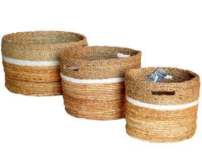 Agressief Chunky Round Mendong White Raffia Baskets Storage Logs Toys Laundry 3 Sizes Hoog Gepolijst