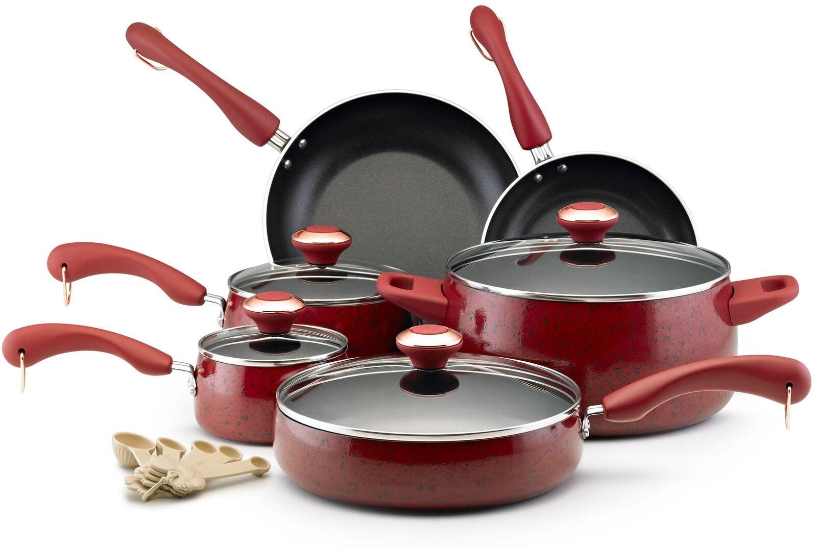 Paula Deen Colección Rojo Moteado antiadherente de 15 piezas Juego de utensilios Il